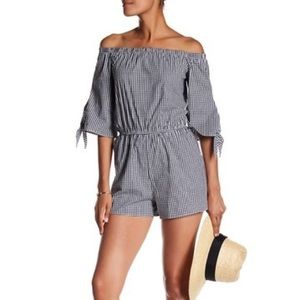 Gingham Off The Shoulder Romper